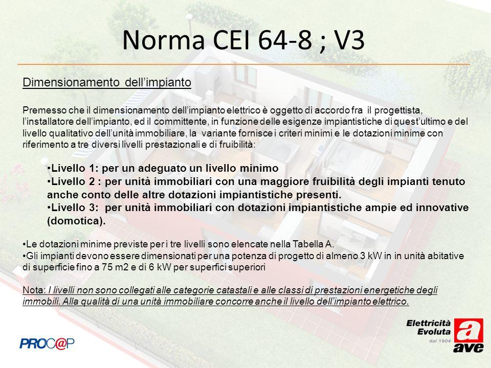 Norma CEI 64-8 ; V3 Dimensionamento dellimpianto Premesso che il dimensionamento dellimpianto elettrico è oggetto di accordo fra il progettista, linst