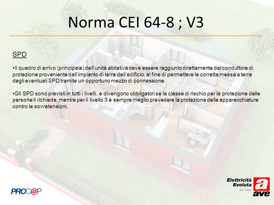 Norma CEI 64-8 ; V3 SPD Il quadro di arrivo (principale) dellunità abitativa deve essere raggiunto direttamente dal conduttore di protezione provenien