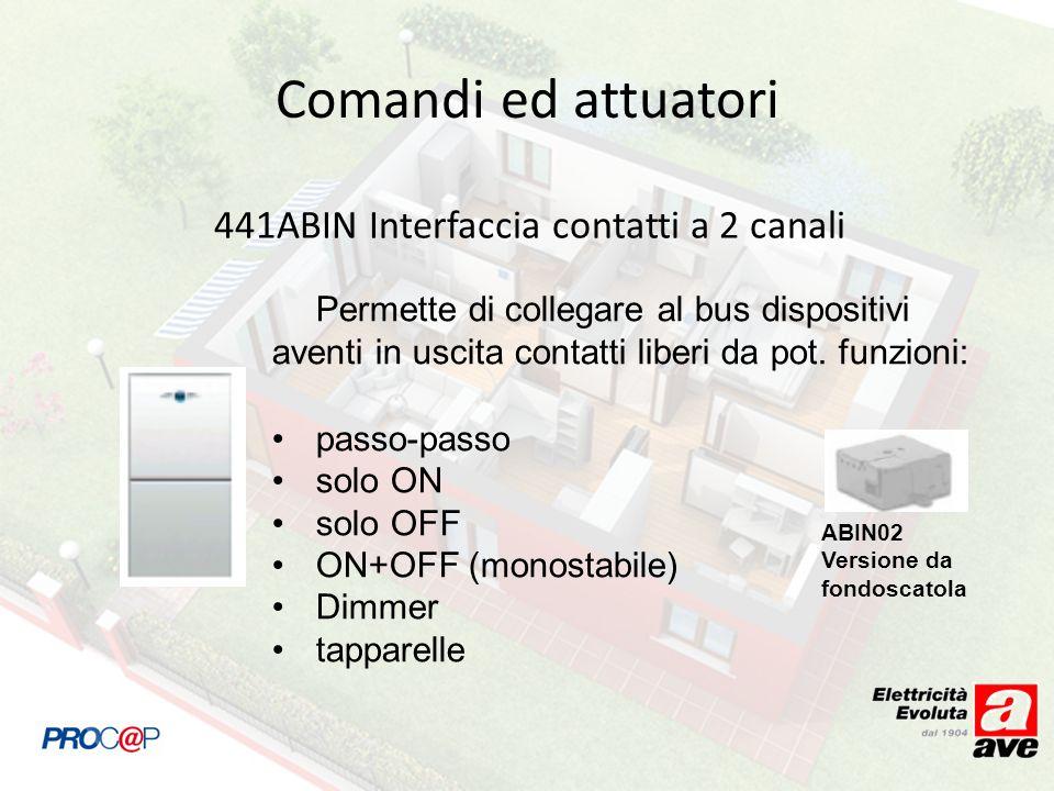 441ABIN Interfaccia contatti a 2 canali Permette di collegare al bus dispositivi aventi in uscita contatti liberi da pot. funzioni: passo-passo solo O