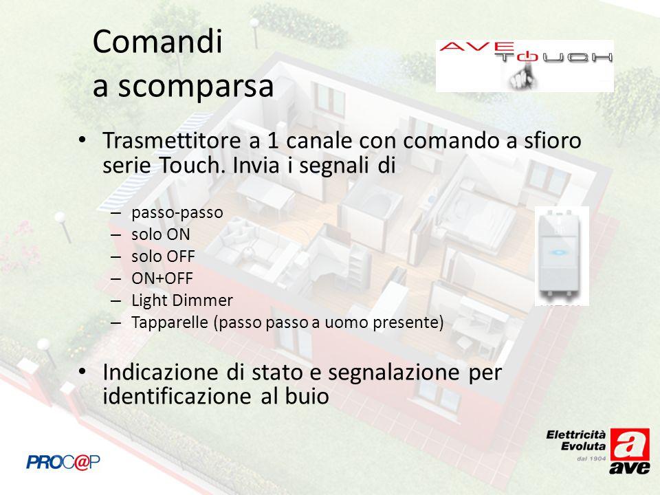 Trasmettitore a 1 canale con comando a sfioro serie Touch. Invia i segnali di – passo-passo – solo ON – solo OFF – ON+OFF – Light Dimmer – Tapparelle
