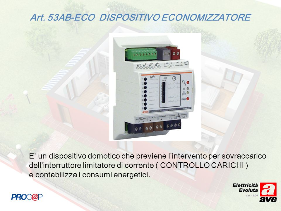 Art. 53AB-ECO DISPOSITIVO ECONOMIZZATORE E un dispositivo domotico che previene lintervento per sovraccarico dellinterruttore limitatore di corrente (