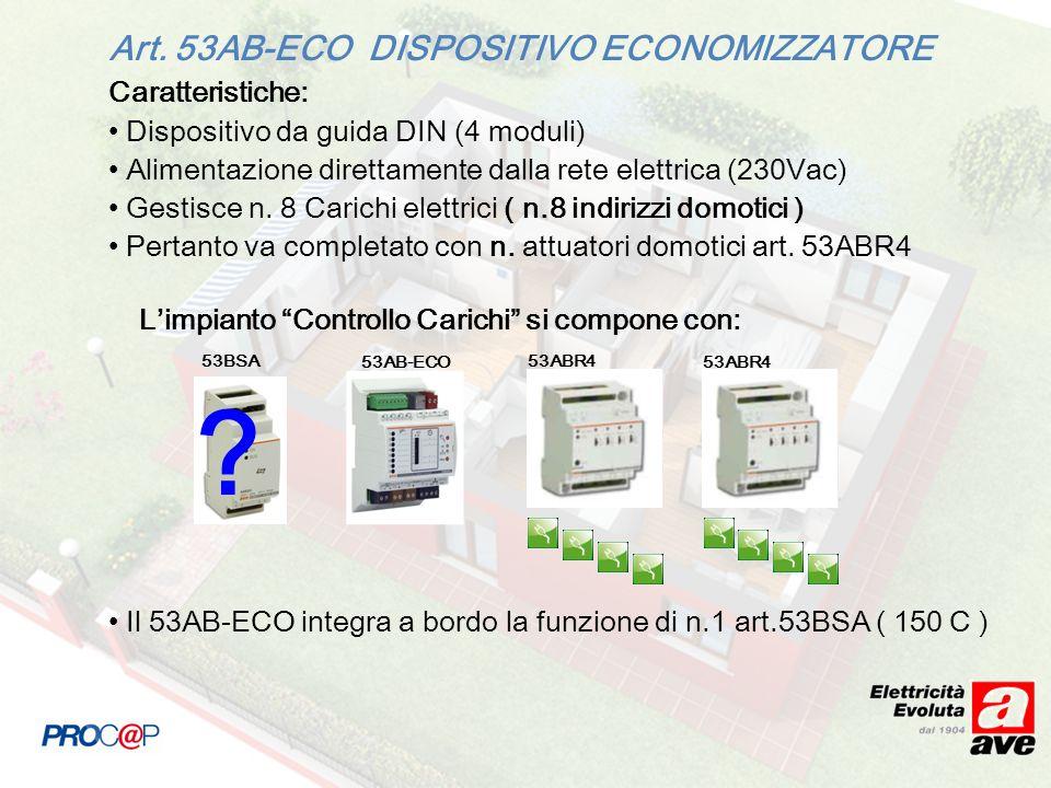 Caratteristiche: Dispositivo da guida DIN (4 moduli) Alimentazione direttamente dalla rete elettrica (230Vac) Gestisce n. 8 Carichi elettrici ( n.8 in