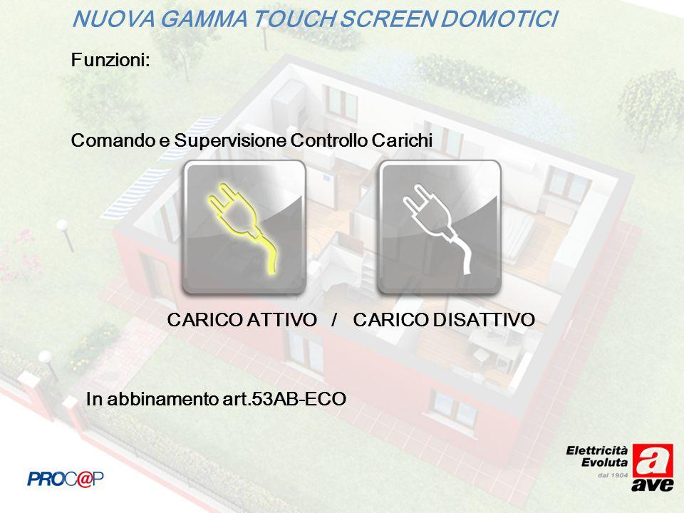 NUOVA GAMMA TOUCH SCREEN DOMOTICI Funzioni: Comando e Supervisione Controllo Carichi CARICO ATTIVO / CARICO DISATTIVO In abbinamento art.53AB-ECO