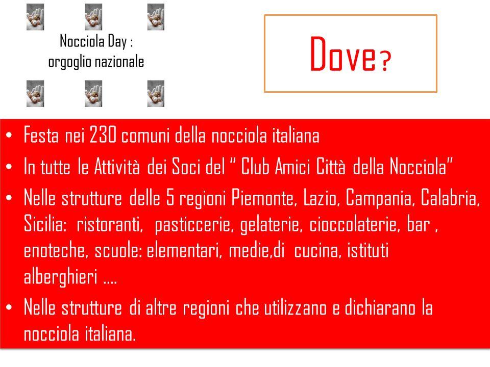 Dove ? Festa nei 230 comuni della nocciola italiana In tutte le Attività dei Soci del Club Amici Città della Nocciola Nelle strutture delle 5 regioni