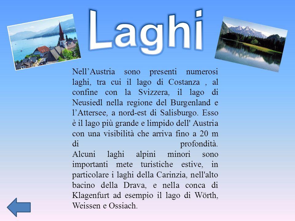 NellAustria sono presenti numerosi laghi, tra cui il lago di Costanza, al confine con la Svizzera, il lago di Neusiedl nella regione del Burgenland e