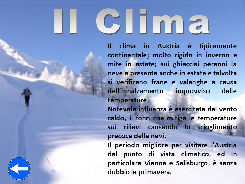 Il clima in Austria è tipicamente continentale; molto rigido in inverno e mite in estate; sui ghiacciai perenni la neve è presente anche in estate e t