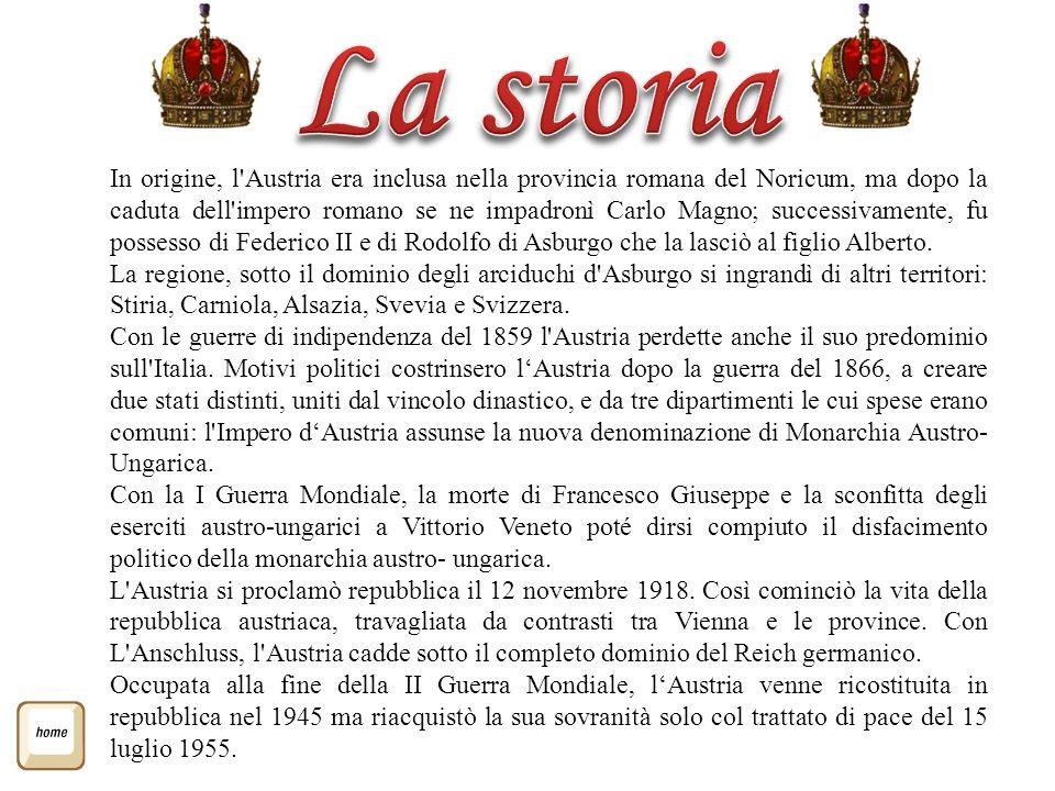 In origine, l'Austria era inclusa nella provincia romana del Noricum, ma dopo la caduta dell'impero romano se ne impadronì Carlo Magno; successivament