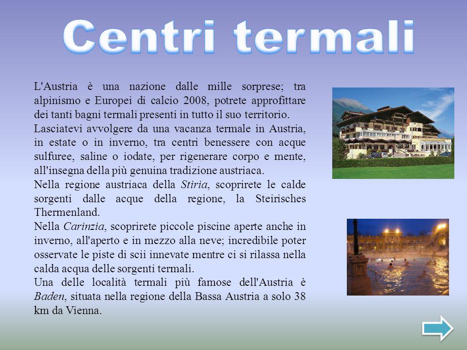 L'Austria è una nazione dalle mille sorprese; tra alpinismo e Europei di calcio 2008, potrete approfittare dei tanti bagni termali presenti in tutto i