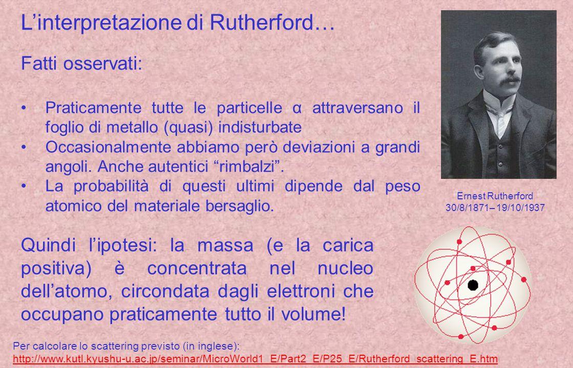 Linterpretazione di Rutherford… Ernest Rutherford 30/8/1871– 19/10/1937 Fatti osservati: Praticamente tutte le particelle α attraversano il foglio di metallo (quasi) indisturbate Occasionalmente abbiamo però deviazioni a grandi angoli.