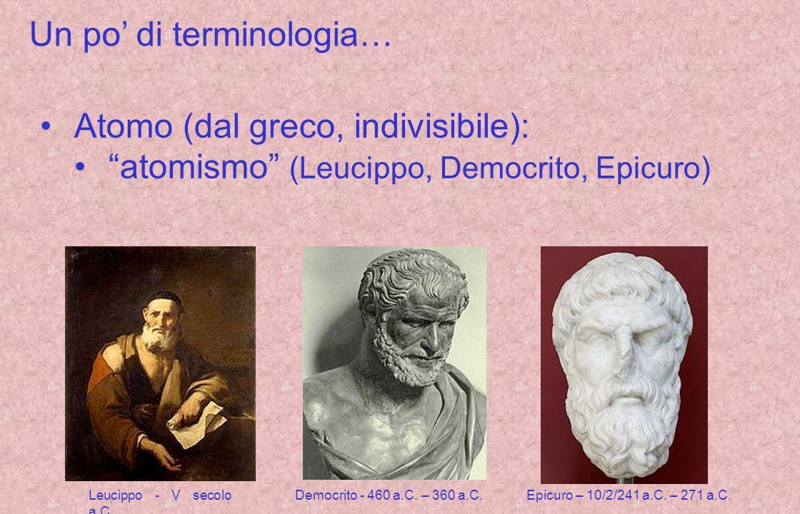 Un po di terminologia… Atomo (dal greco, indivisibile): atomismo (Leucippo, Democrito, Epicuro) Leucippo - V secolo a.C.