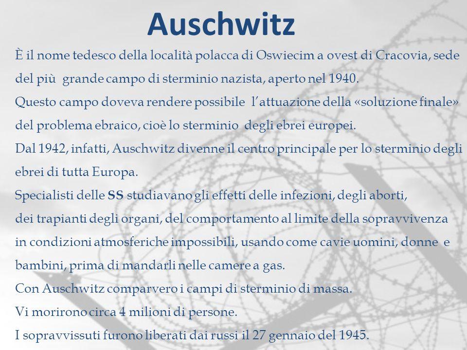 È il nome tedesco della località polacca di Oswiecim a ovest di Cracovia, sede del più grande campo di sterminio nazista, aperto nel 1940. Questo camp