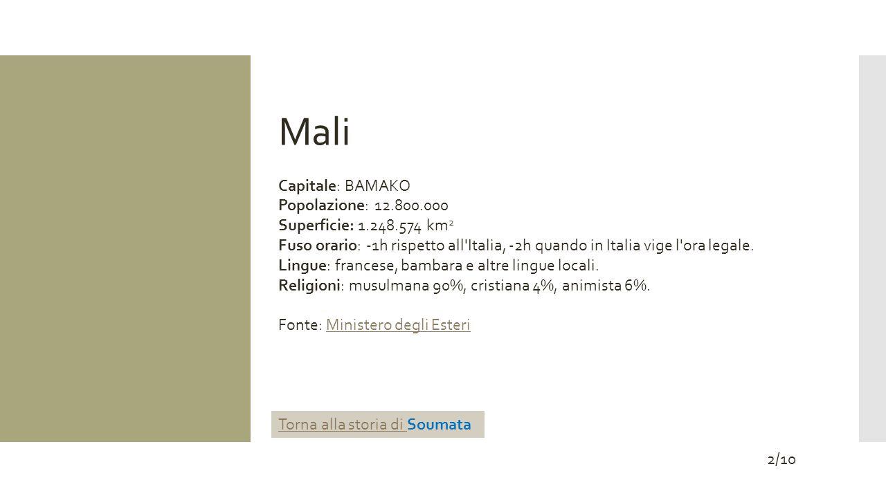 Mali Capitale: BAMAKO Popolazione: 12.800.000 Superficie: 1.248.574 km 2 Fuso orario: -1h rispetto all'Italia, -2h quando in Italia vige l'ora legale.