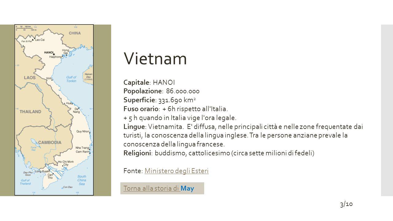 Vietnam Capitale: HANOI Popolazione: 86.000.000 Superficie: 331.690 km 2 Fuso orario: + 6h rispetto all'Italia. + 5 h quando in Italia vige l'ora lega