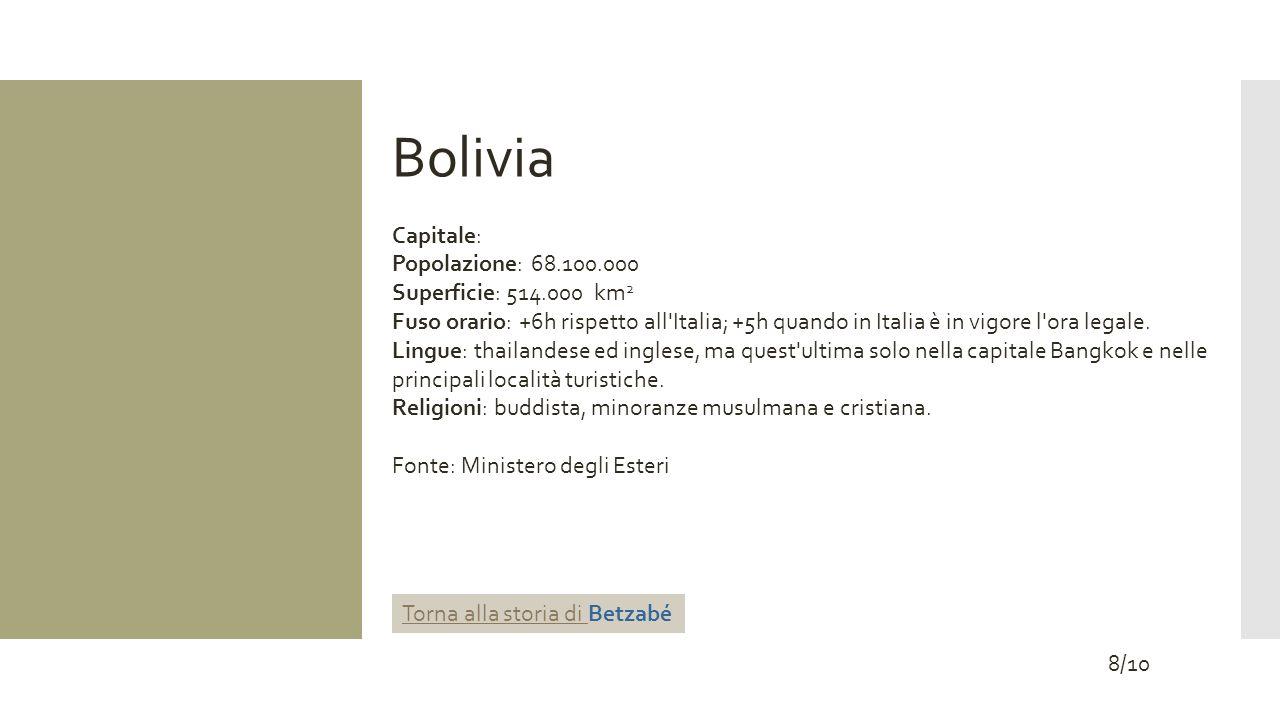 Bolivia Capitale: Popolazione: 68.100.000 Superficie: 514.000 km 2 Fuso orario: +6h rispetto all'Italia; +5h quando in Italia è in vigore l'ora legale