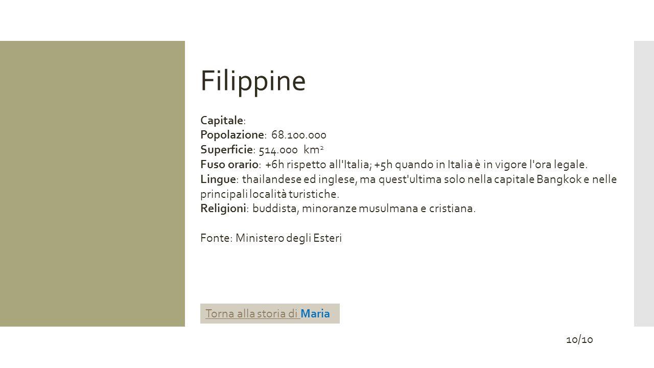Filippine Capitale: Popolazione: 68.100.000 Superficie: 514.000 km 2 Fuso orario: +6h rispetto all'Italia; +5h quando in Italia è in vigore l'ora lega