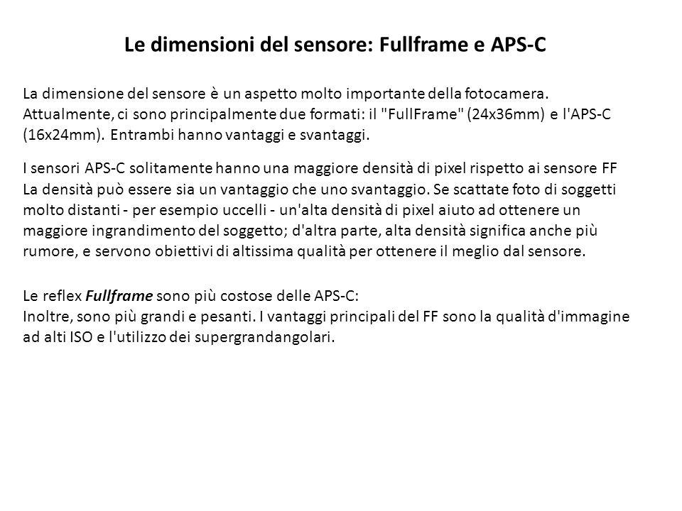 Le dimensioni del sensore: Fullframe e APS-C La dimensione del sensore è un aspetto molto importante della fotocamera.