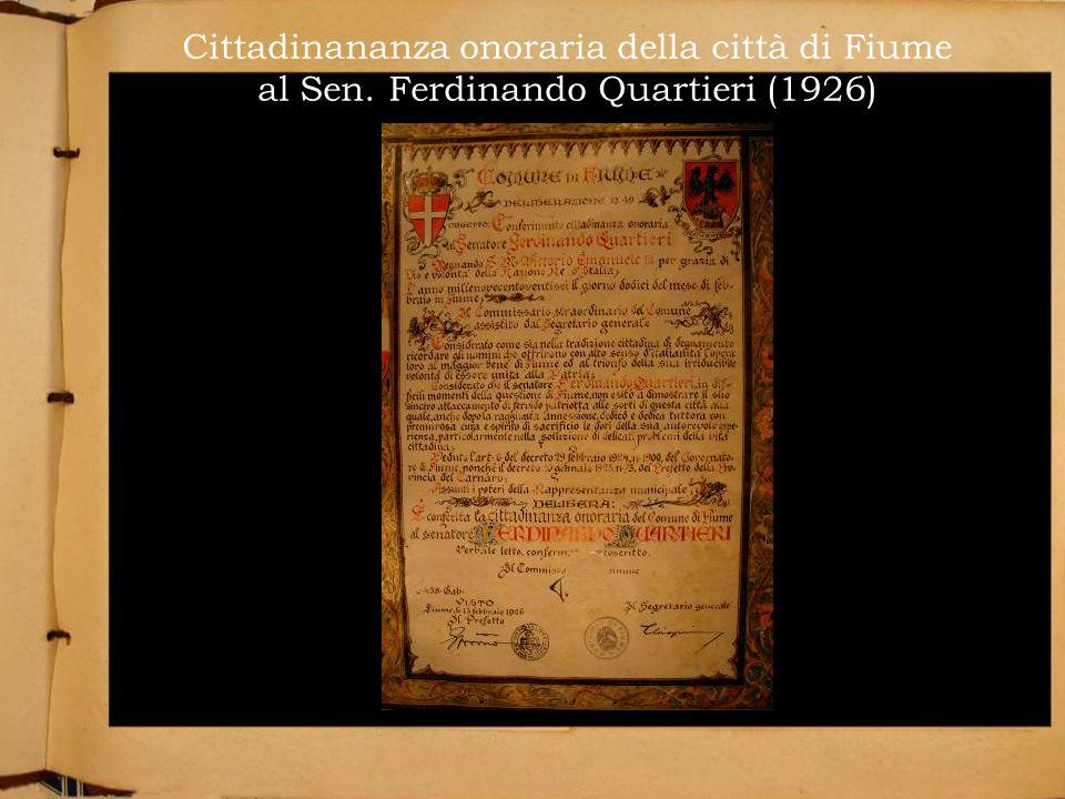 Cittadinananza onoraria della città di Fiume al Sen. Ferdinando Quartieri (1926)