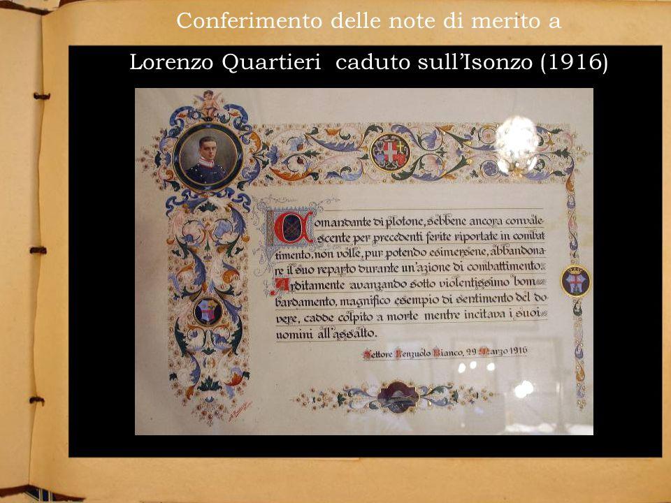 Conferimento delle note di merito a Lorenzo Quartieri caduto sullIsonzo (1916)
