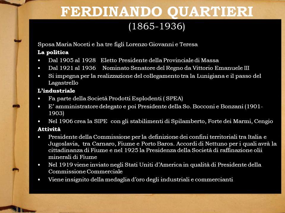 FERDINANDO QUARTIERI (1865-1936) Sposa Maria Noceti e ha tre figli Lorenzo Giovanni e Teresa La politica Dal 1905 al 1928 Eletto Presidente della Prov