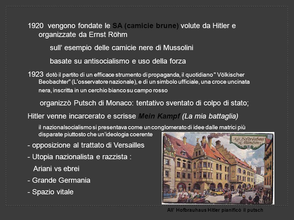 1920 vengono fondate le SA (camicie brune) volute da Hitler e organizzate da Ernst Röhm sull esempio delle camicie nere di Mussolini basate su antisocialismo e uso della forza 1923 dotò il partito di un efficace strumento di propaganda, il quotidiano Völkischer Beobachter (L osservatore nazionale), e di un simbolo ufficiale, una croce uncinata nera, inscritta in un cerchio bianco su campo rosso organizzò Putsch di Monaco: tentativo sventato di colpo di stato; Hitler venne incarcerato e scrisse Mein Kampf (La mia battaglia) il nazionalsocialismo si presentava come un conglomerato di idee dalle matrici più disparate piuttosto che unideologia coerente - opposizione al trattato di Versailles - Utopia nazionalista e razzista : Ariani vs ebrei - Grande Germania - Spazio vitale All Hofbrauhaus Hitler pianificò il putsch