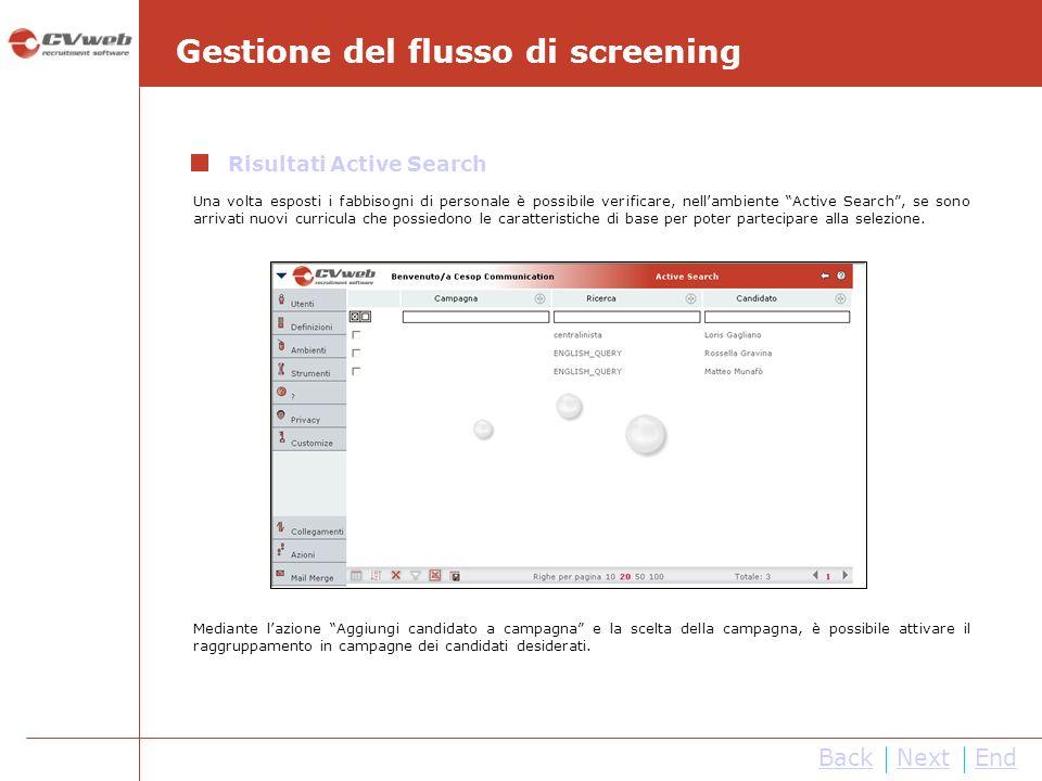 NextEnd Gestione del flusso di screening Una volta esposti i fabbisogni di personale è possibile verificare, nellambiente Active Search, se sono arriv