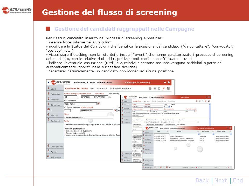 NextEnd Per ciascun candidato inserito nei processi di screening è possibile: - inserire Note Interne nel Curriculum -modificare lo Status del Curricu