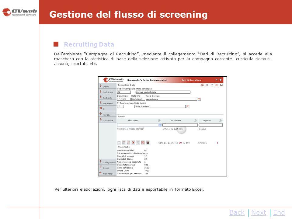 NextEnd Gestione del flusso di screening Dallambiente Campagne di Recruiting, mediante il collegamento Dati di Recruiting, si accede alla maschera con
