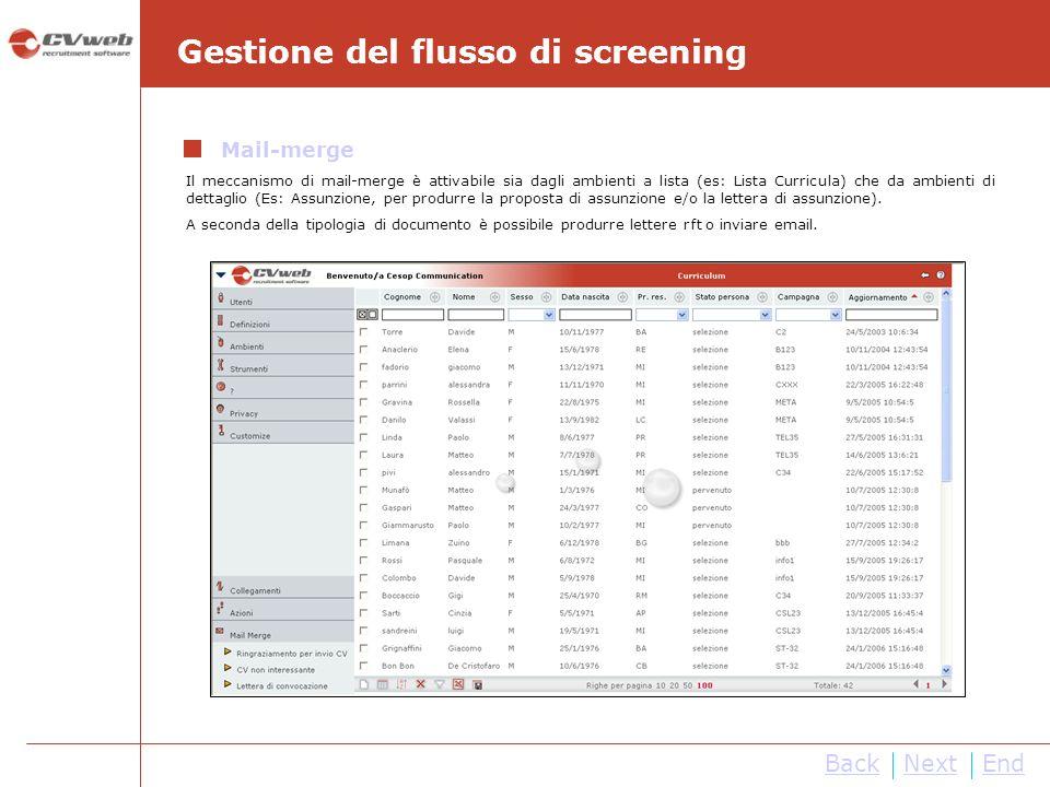 BackNextEnd Gestione del flusso di screening Mail-merge Il meccanismo di mail-merge è attivabile sia dagli ambienti a lista (es: Lista Curricula) che