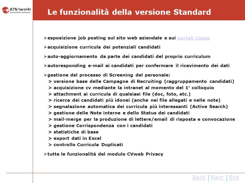 NextEnd Le funzionalità della versione Standard Back esposizione job posting sul sito web aziendale e sui portali Cesopportali Cesop acquisizione curr