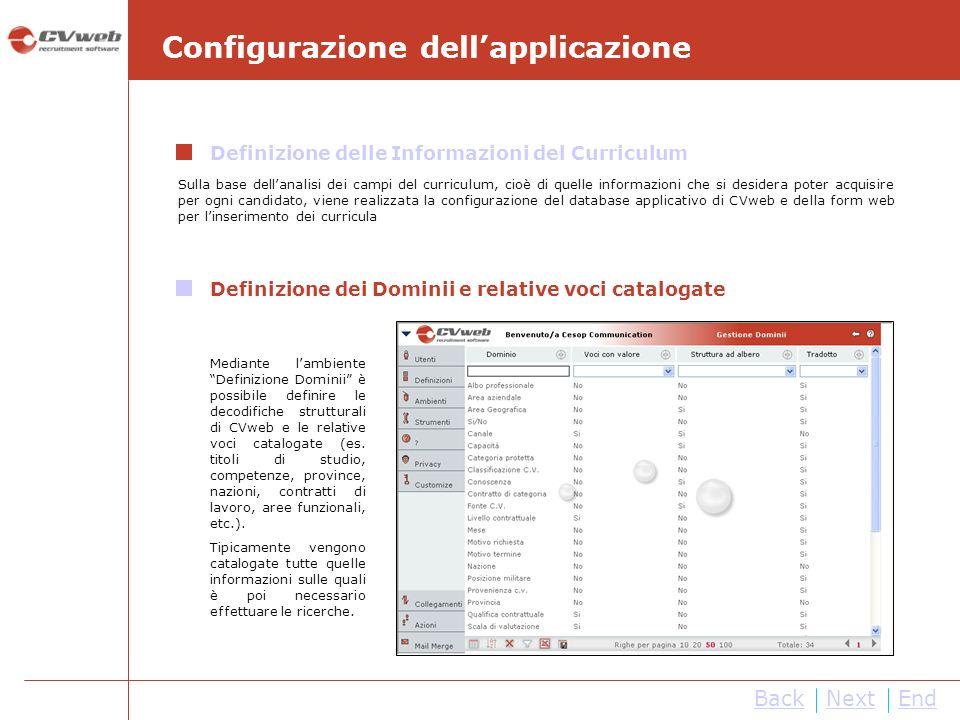 NextEnd Configurazione dellapplicazione Definizione delle Informazioni del Curriculum Sulla base dellanalisi dei campi del curriculum, cioè di quelle