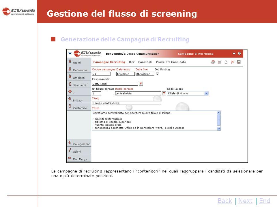 BackNextEnd Gestione del flusso di screening Generazione delle Campagne di Recruiting Le campagne di recruiting rappresentano i contenitori nei quali