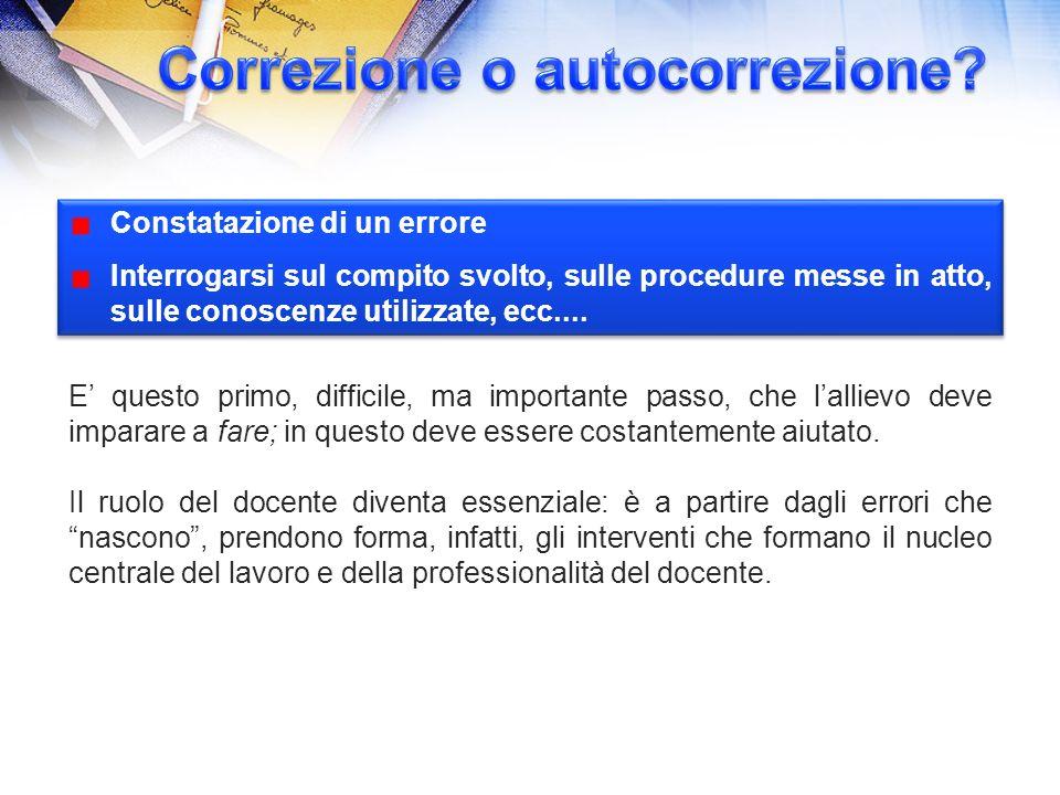 Constatazione di un errore Interrogarsi sul compito svolto, sulle procedure messe in atto, sulle conoscenze utilizzate, ecc....
