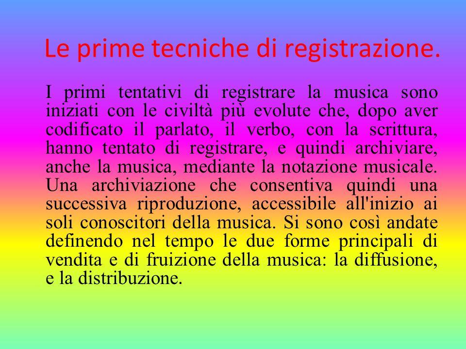 Le prime tecniche di registrazione. I primi tentativi di registrare la musica sono iniziati con le civiltà più evolute che, dopo aver codificato il pa