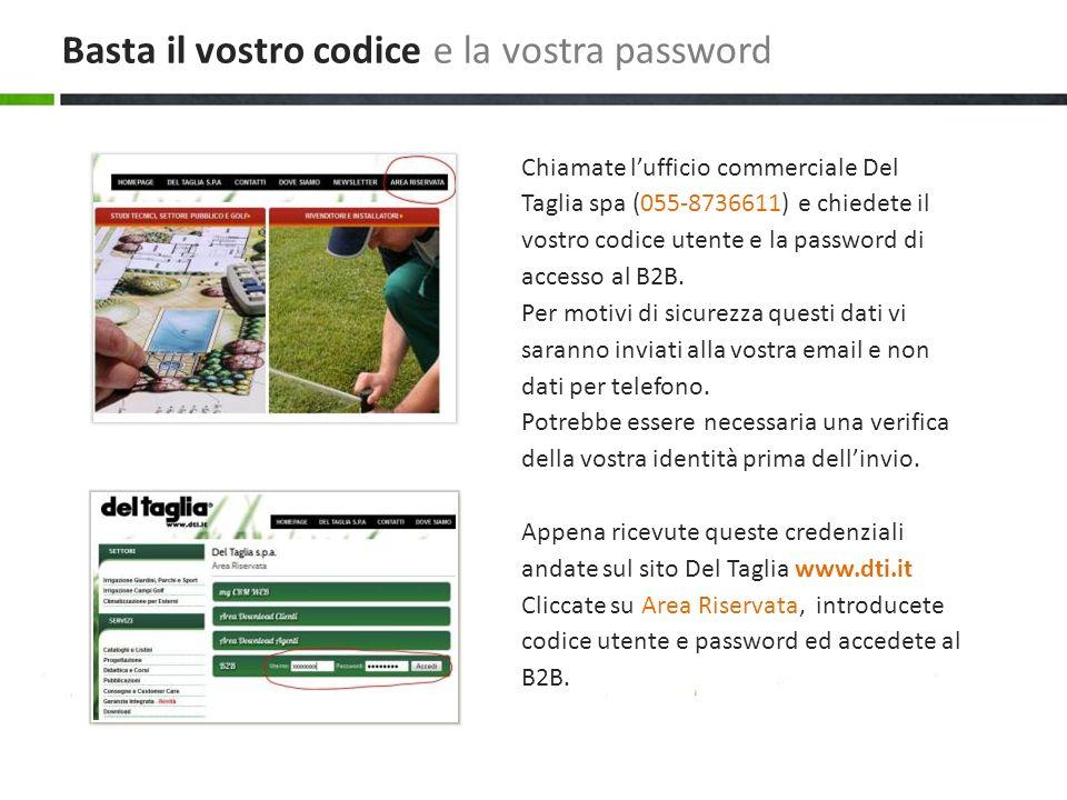Chiamate lufficio commerciale Del Taglia spa (055-8736611) e chiedete il vostro codice utente e la password di accesso al B2B.
