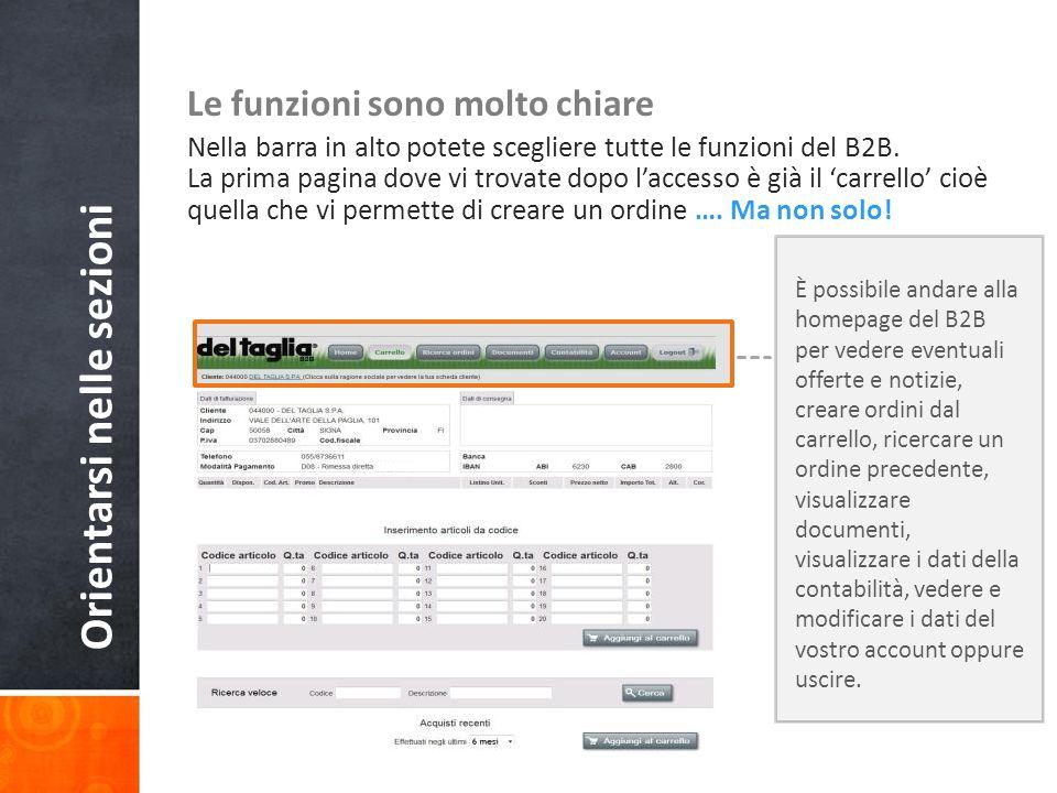 Orientarsi nelle sezioni Le funzioni sono molto chiare Nella barra in alto potete scegliere tutte le funzioni del B2B.