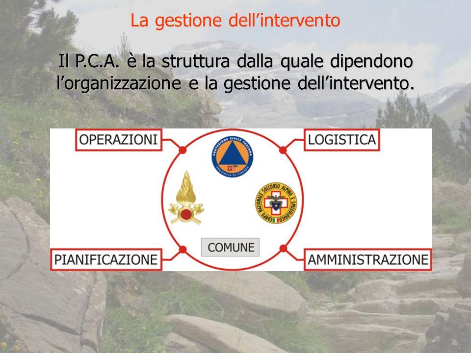 Il P.C.A.è la struttura dalla quale dipendono lorganizzazione e la gestione dellintervento.