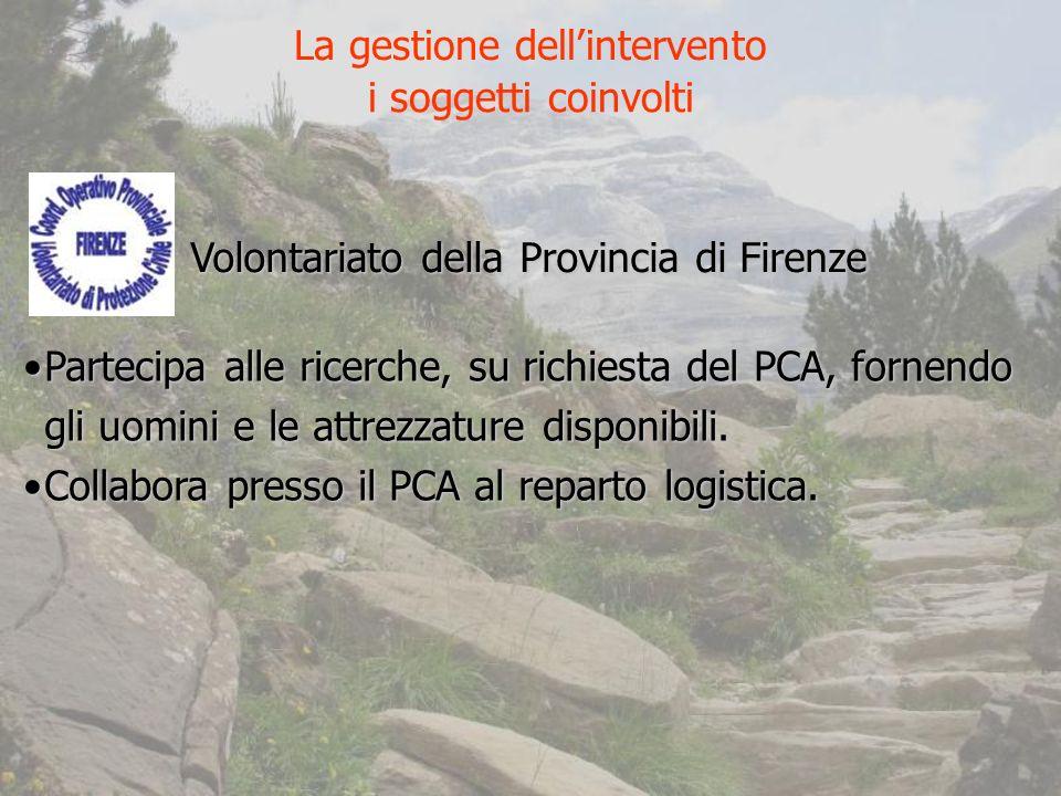 Volontariato della Provincia di Firenze Partecipa alle ricerche, su richiesta del PCA, fornendo gli uomini e le attrezzature disponibili.Partecipa alle ricerche, su richiesta del PCA, fornendo gli uomini e le attrezzature disponibili.