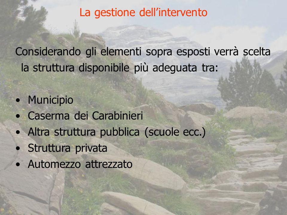 Considerando gli elementi sopra esposti verrà scelta la struttura disponibile più adeguata tra: Municipio Caserma dei Carabinieri Altra struttura pubblica (scuole ecc.) Struttura privata Automezzo attrezzato La gestione dellintervento