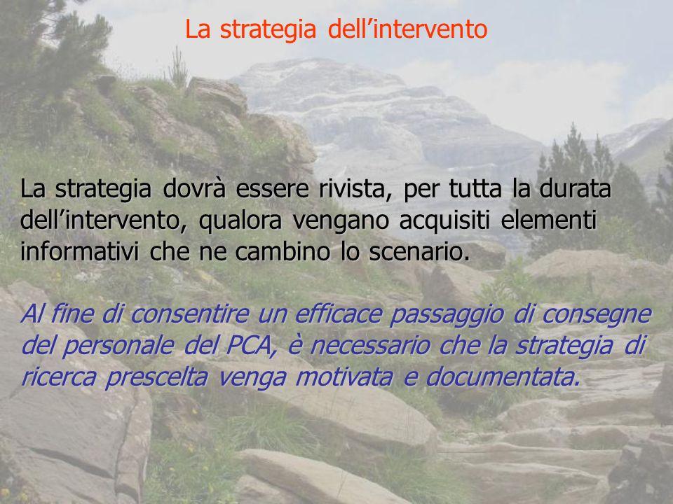 La strategia dovrà essere rivista, per tutta la durata dellintervento, qualora vengano acquisiti elementi informativi che ne cambino lo scenario.