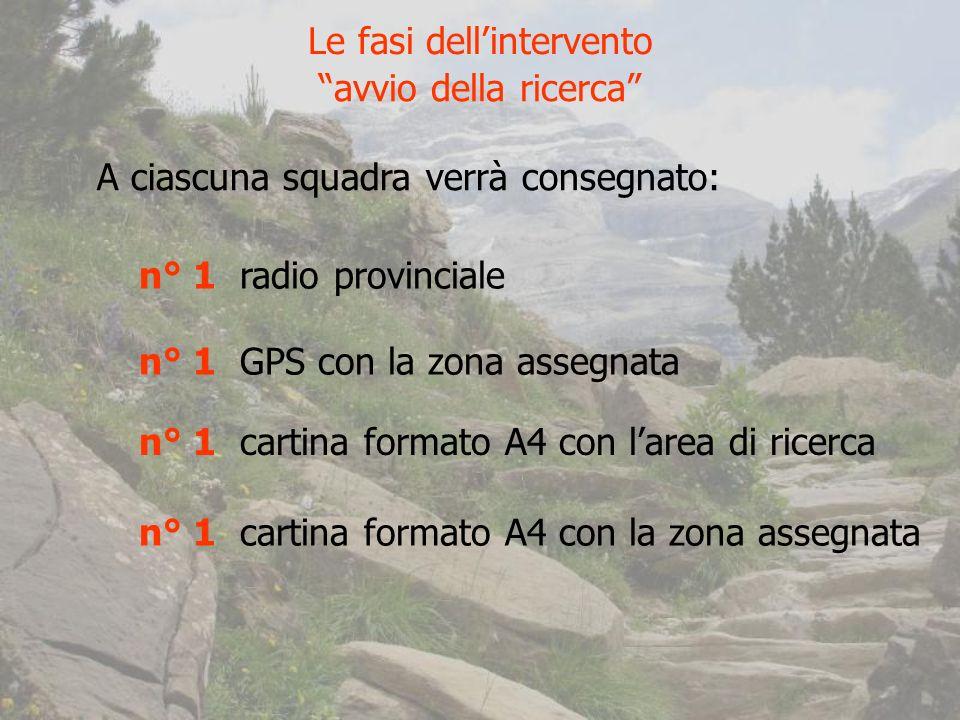 Le fasi dellintervento avvio della ricerca A ciascuna squadra verrà consegnato: n° 1 radio provinciale n° 1 GPS con la zona assegnata n° 1 cartina formato A4 con larea di ricerca n° 1 cartina formato A4 con la zona assegnata