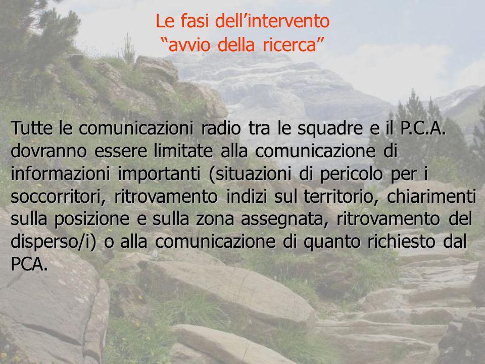 Tutte le comunicazioni radio tra le squadre e il P.C.A.