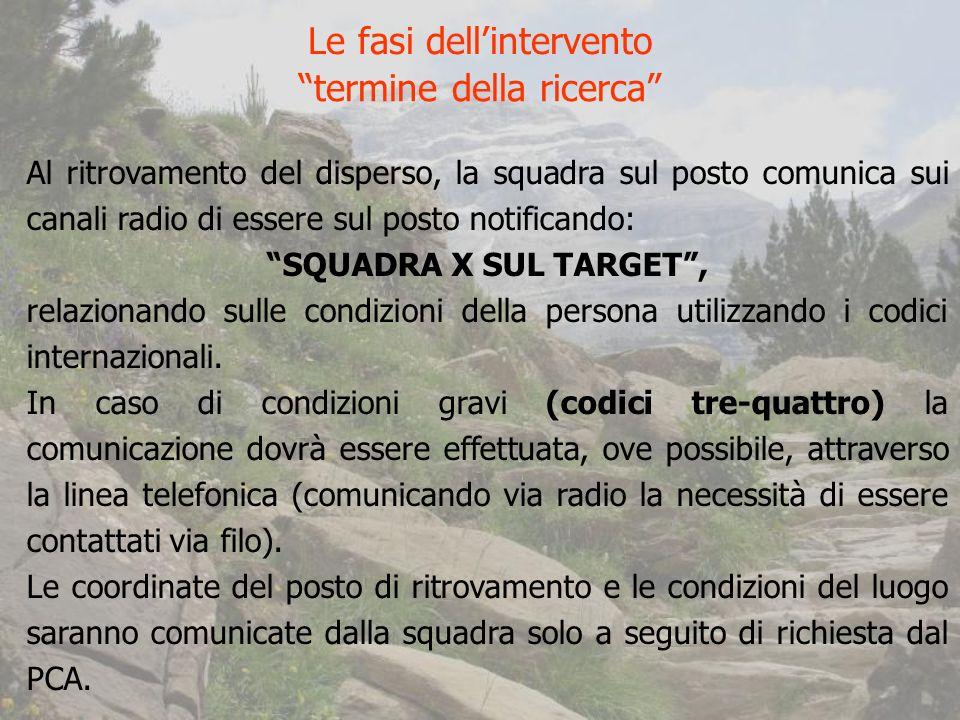 Al ritrovamento del disperso, la squadra sul posto comunica sui canali radio di essere sul posto notificando: SQUADRA X SUL TARGET, relazionando sulle condizioni della persona utilizzando i codici internazionali.