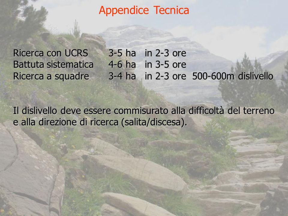 Appendice Tecnica Ricerca con UCRS 3-5 ha in 2-3 ore Battuta sistematica 4-6 ha in 3-5 ore Ricerca a squadre 3-4 ha in 2-3 ore 500-600m dislivello Il dislivello deve essere commisurato alla difficoltà del terreno e alla direzione di ricerca (salita/discesa).