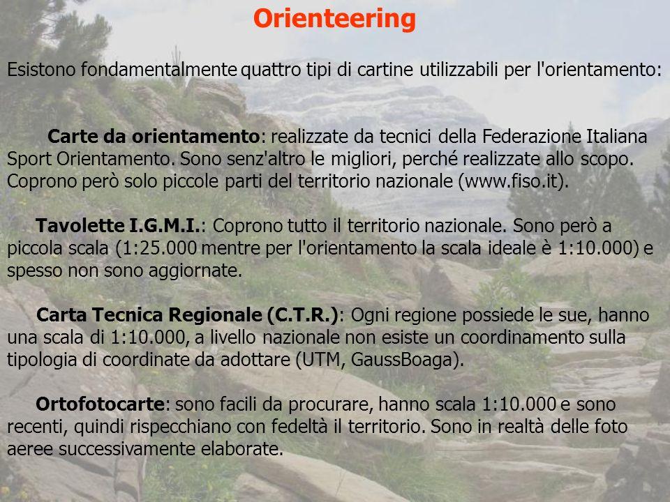 Orienteering Esistono fondamentalmente quattro tipi di cartine utilizzabili per l orientamento: Carte da orientamento: realizzate da tecnici della Federazione Italiana Sport Orientamento.