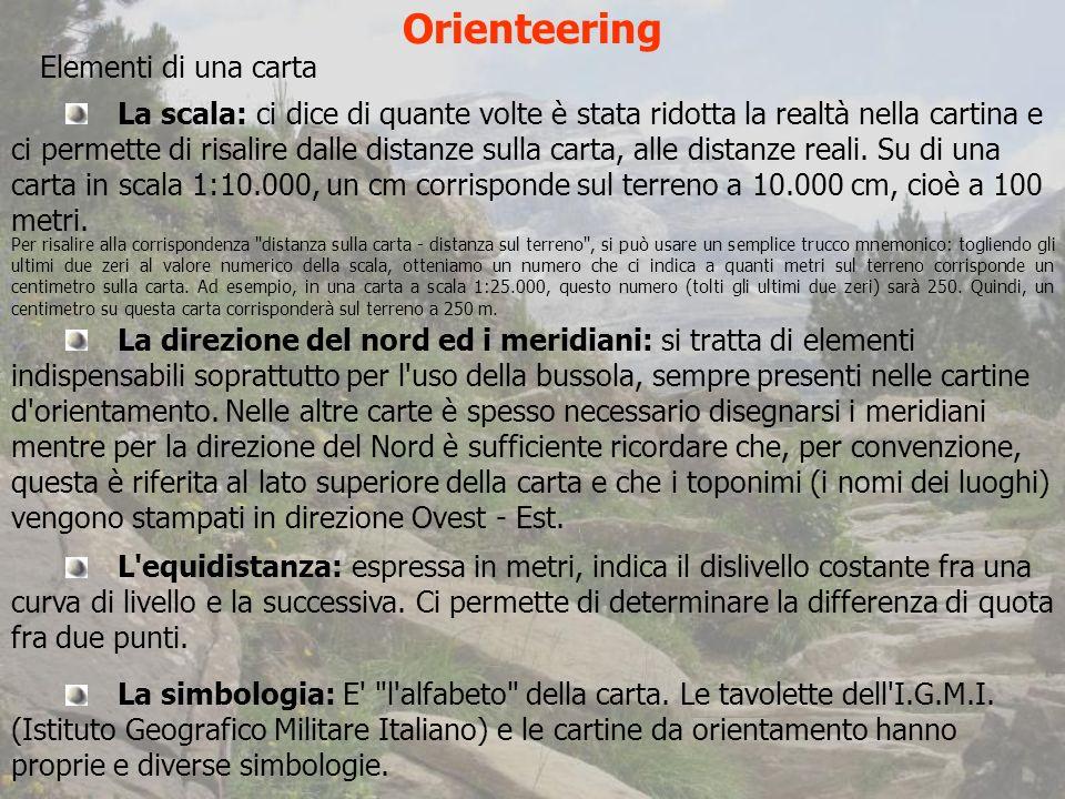 Orienteering Elementi di una carta La scala: ci dice di quante volte è stata ridotta la realtà nella cartina e ci permette di risalire dalle distanze sulla carta, alle distanze reali.