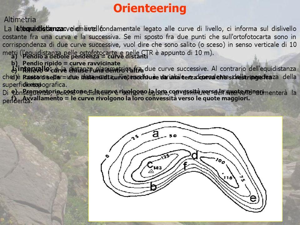 Orienteering L equidistanza: elemento fondamentale legato alle curve di livello, ci informa sul dislivello costante fra una curva e la successiva.