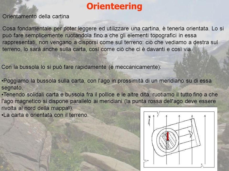 Orienteering Orientamento della cartina Cosa fondamentale per poter leggere ed utilizzare una cartina, è tenerla orientata.
