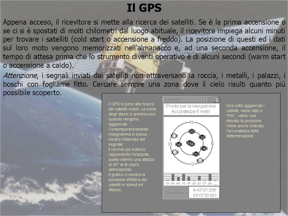Il GPS Appena acceso, il ricevitore si mette alla ricerca dei satelliti.