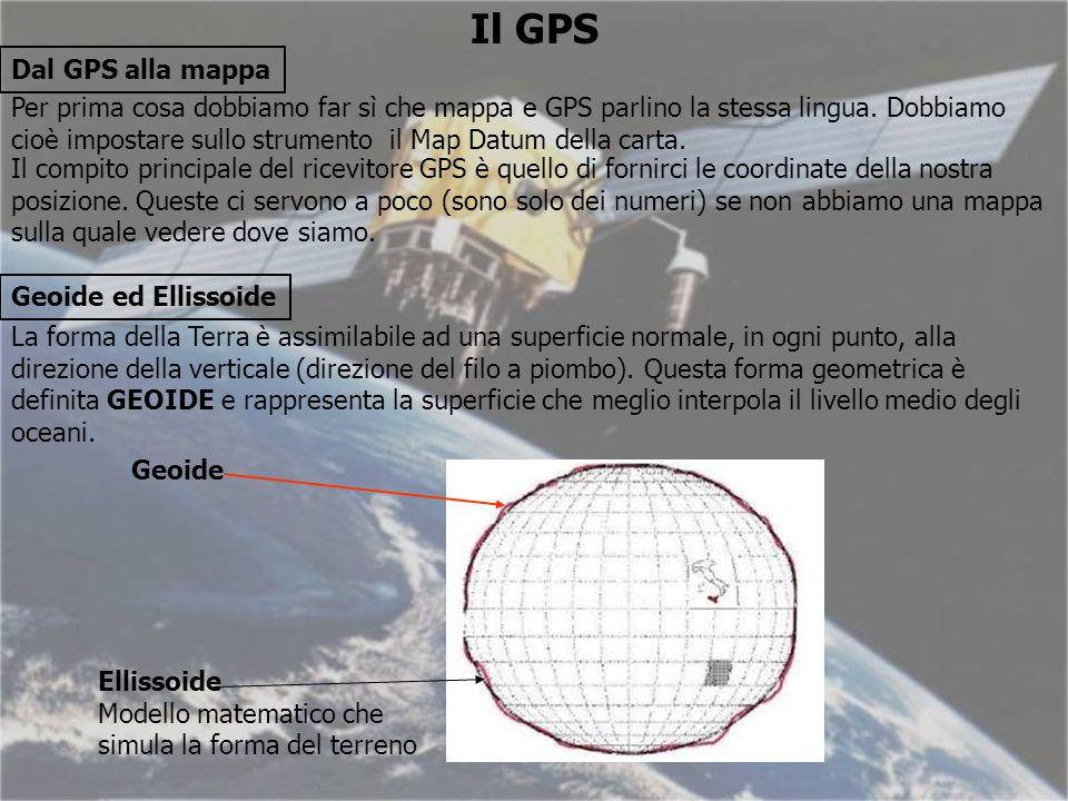 Il GPS Dal GPS alla mappa Per prima cosa dobbiamo far sì che mappa e GPS parlino la stessa lingua.
