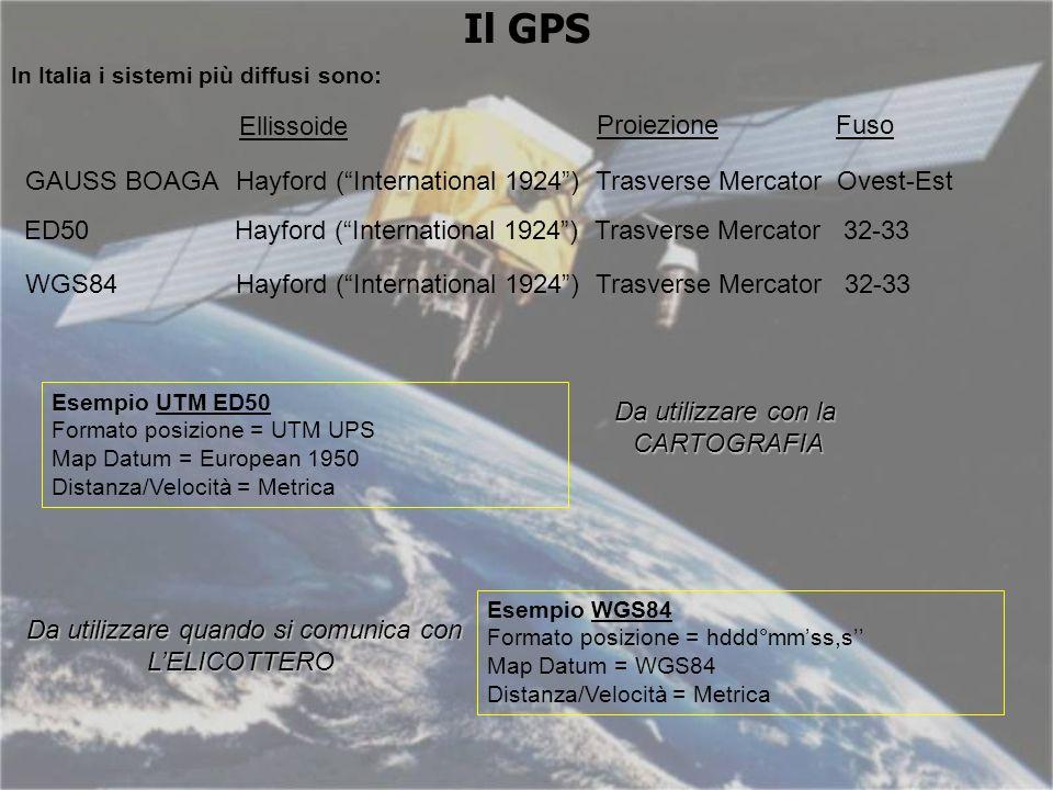 Il GPS Esempio UTM ED50 Formato posizione = UTM UPS Map Datum = European 1950 Distanza/Velocità = Metrica In Italia i sistemi più diffusi sono: GAUSS BOAGA Hayford (International 1924) Trasverse Mercator Ovest-Est ED50Hayford (International 1924) Trasverse Mercator 32-33 WGS84 Hayford (International 1924) Trasverse Mercator 32-33 Ellissoide ProiezioneFuso Esempio WGS84 Formato posizione = hddd°mmss,s Map Datum = WGS84 Distanza/Velocità = Metrica Da utilizzare con la CARTOGRAFIA Da utilizzare quando si comunica con LELICOTTERO
